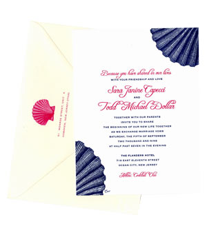 Ceci NY wedding invitation with shells
