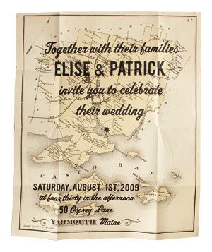 Foreshadow Press wedding invitation with destination map