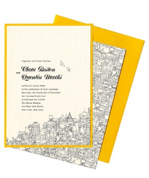 Kenzie Kate wedding invitation with city scene