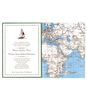 Kenzie Kate wedding invitation with map on enclosure envelope