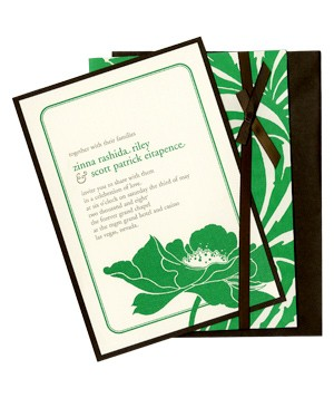 Kenzie Kate bold green and brown wedding invitations