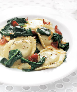 Ravioli With Spinach and Bacon