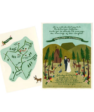 Rifle Design wedding invitation with painting of couple