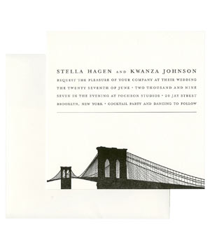Swayspace wedding invitation with Brooklyn Bridge