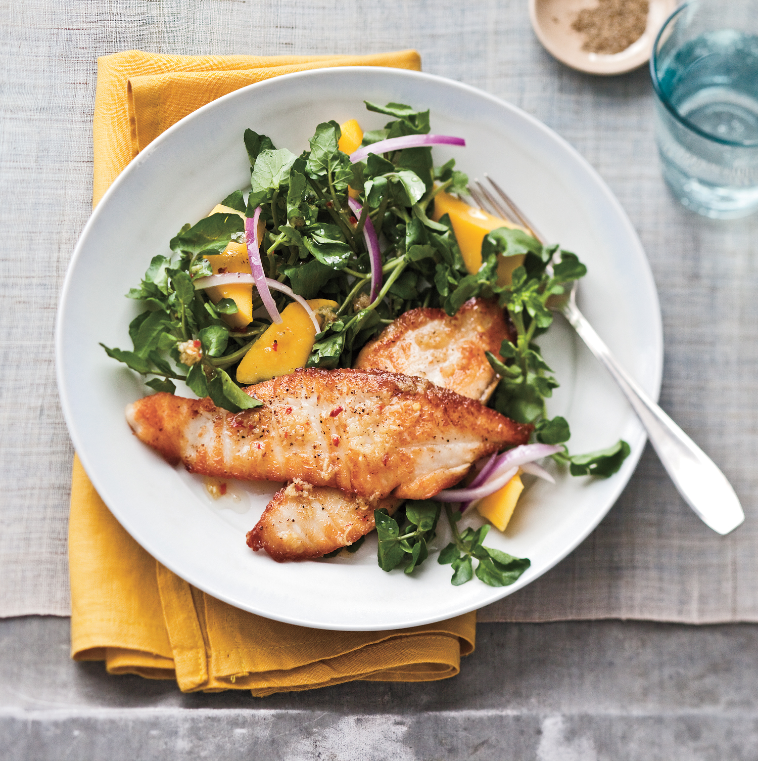 Easy healthy dinner recipes real simple easy healthy dinners ideas seared tilapia with watercress and mango salad forumfinder Image collections