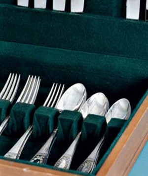 Silver flatware in a box
