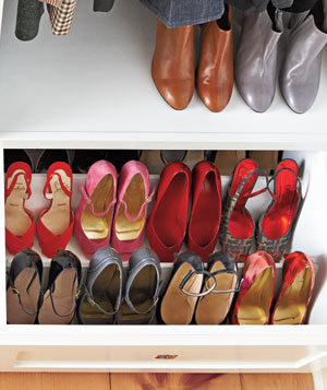 Organized shoe drawer