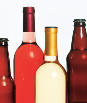 Wine and beer bottles