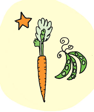 Illustration of carrots and peas