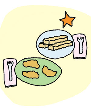 Illustration of chicken nuggets or fish sticks