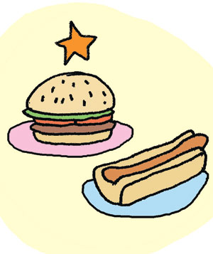 Illustration of hamburger or hotdog