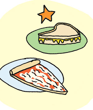 Illustration of cheese pizza or grilled cheese