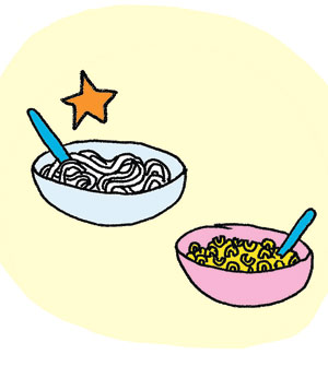 Illustration of spagetti or macaroni and cheese