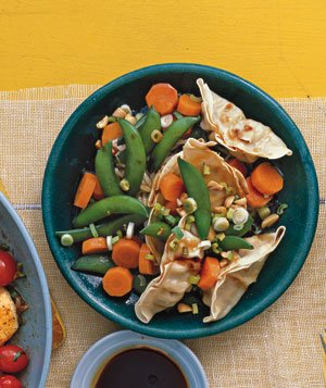 Pot Sticker Salad With Snap Peas