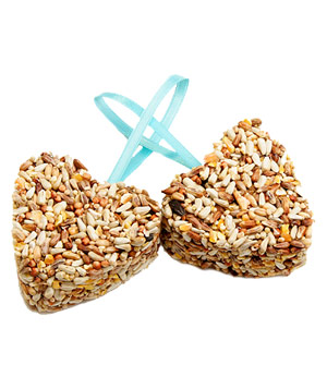 Heart-Shaped Organic Birdseed Favors by 2 Birds in Love