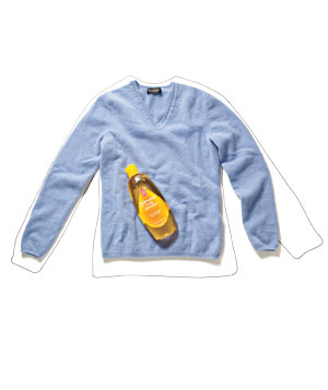 Shrunken blue sweater with Johnson's baby shampoo