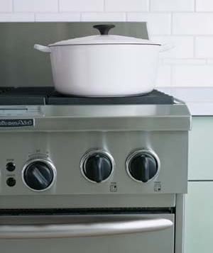 White pot on stovetop
