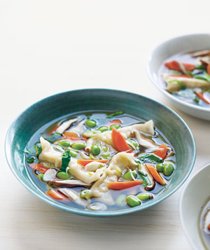 Asian Dumpling Soup With Shiitakes and Edamame Recipe