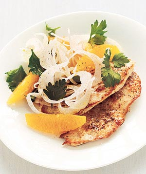 Chicken With Fennel-Orange Salad Recipe