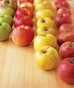 Red, yellow, and green apples