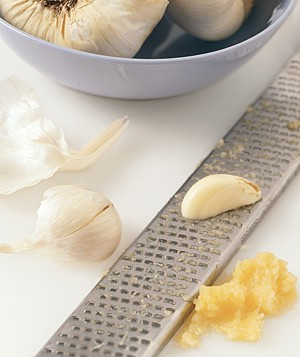 Garlic grated with a Microplane zester