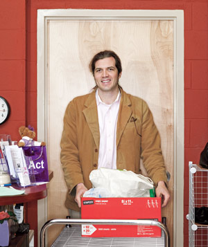 Portrait of Matt Shipman with supplies to donate to a women's shelter