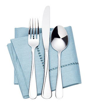 Silverware on a blue napkin
