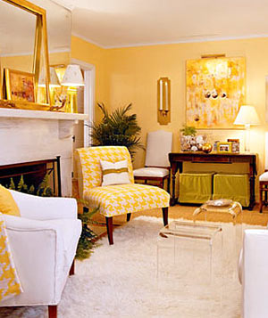 yellow chairs living room. Yellow living room with yellow hound s tooth check patterned chair Decorating With  Real Simple