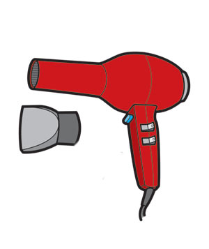 Illustration of a red hair dryer with nozzle