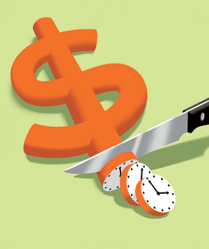 Illustration of dollar sign being cut by time