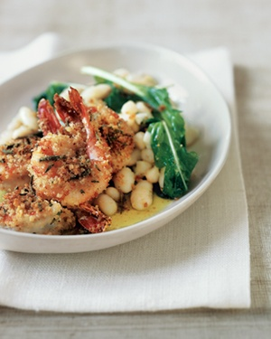 Crispy Breaded Shrimp With Cannellini Beans