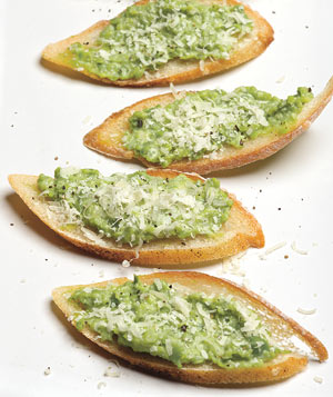 Sweet Pea and Ricotta Crostini