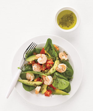 Spinach, Shrimp, and Avocado Salad
