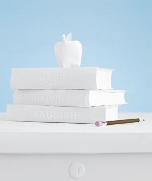 Paper construction of apple and books by Matthew Sporzynski