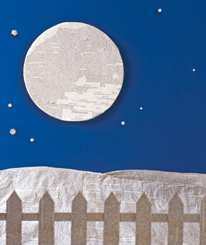 Paper construction of night scene by Matthew Sporzynski