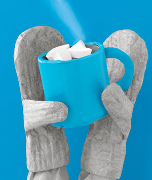 Paper construction of mittens holding hot cocoa by Matthew Sporzynski