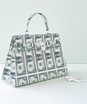 Paper construction of a handbag by Matthew Sporzynski