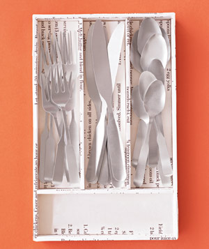 Paper construction of eating utensils by Matthew Sporzynski