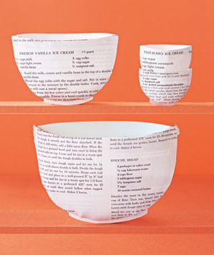 Paper construction of mixing bowls by Matthew Sporzynski