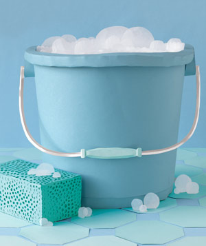 Paper construction of bucket with sponge by Matthew Sporzynski