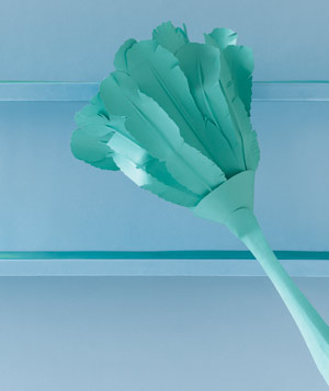 Paper construction of feather duster by Matthew Sporzynski