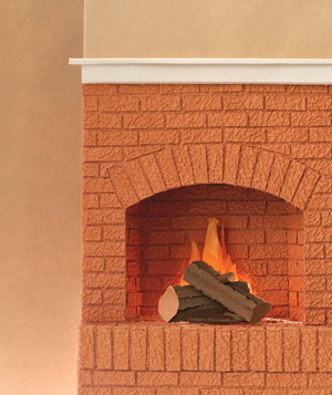 Paper construction of a fireplace by Matthew Sporzynski