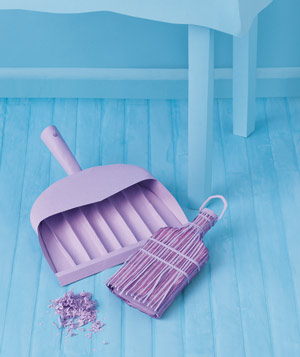 Paper construction of brush and dustpan by Matthew Sporzynski