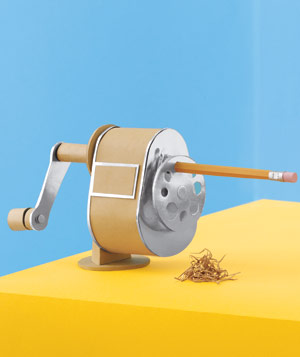 Paper construction of pencil sharpener by Matthew Sporzynski
