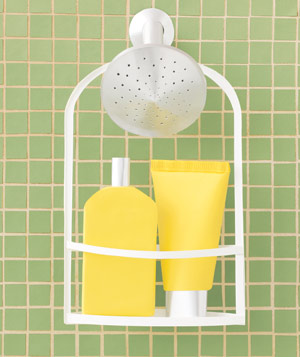 Paper construction of bath products in shower caddy by Matthew Sporzynski