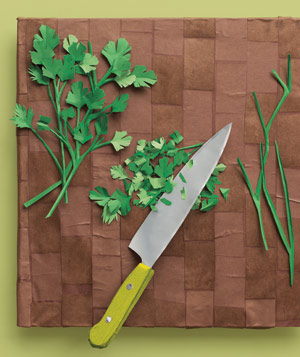 Paper construction of chopped herbs by Matthew Sporzynski