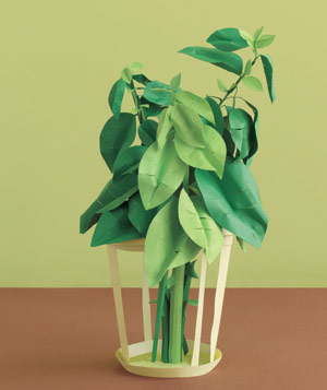 Paper construction of houseplant by Matthew Sporzynski