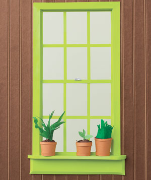 Paper construction of windowsill with potted plants by Matthew Sporzynski