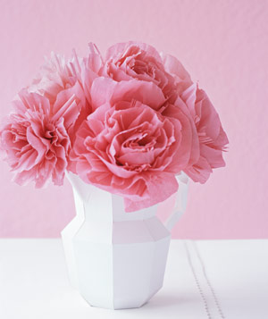 Paper construction of pink flowers in vase by Matthew Sporzynski