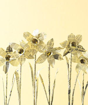 Paper construction of daffodils by Matthew Sporzynski